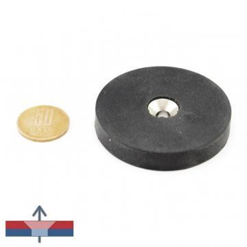 Magnet neodim disc 60 x 10 mm cauciucat cu gaura de la Magneo Smart