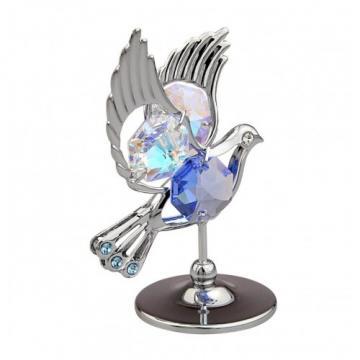 Marturie porumbel cu cristale Swarovski de la Krbaby.ro - Cadouri Bebelusi
