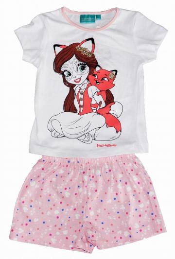 Pijama cu pantaloni scurti, fete, Felicity, bumbac, alb
