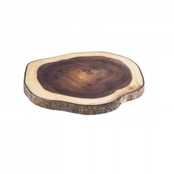 Platou lemn pentru servire cu scoarta de la GM Proffequip Srl