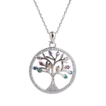 Colier din argint 925% Colorful Tree of Life