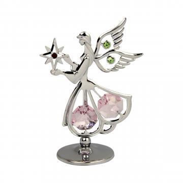 Decoratiune Ingeras cu cristale Swarovski roz