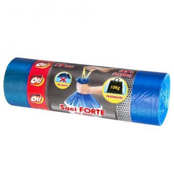 Saci de gunoi Forte cu snur, 35L, albastru, 15 buc./rola