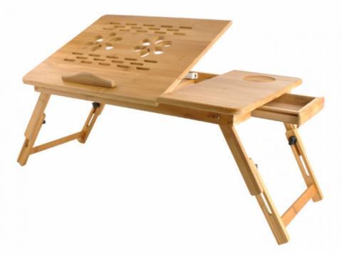 Masuta stand laptop din lemn bambus cu 2 ventilatoare