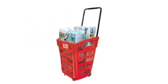 Cos cumparaturi - roller din plastic 52 litri de la Best Store Solutions Srl