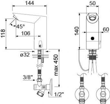 Baterie electronica pentru apa rece sau apa combinata 545566