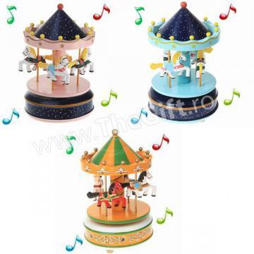 Jucarie muzicala Carusel muzical cu caluti din lemn