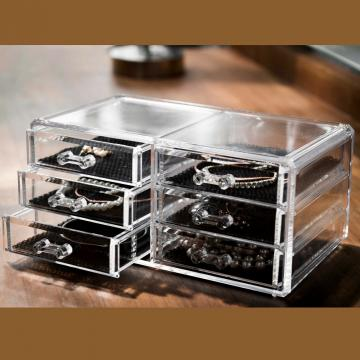 Organizator transparent bijuterii cu 6 sertare