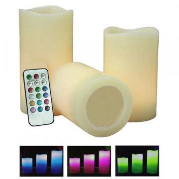 Set de 3 lumanari LED cu telecomanda si diverse optiuni