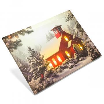 Tablou iluminat led 30x40cm - print digital, motiv de iarna de la Hoba Ecologic Air System Srl