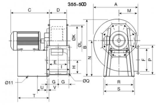 Ventilator centrifugal din otel CRMT/6- 355/145 1.5kw