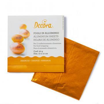 Foite aluminiu orange pentru ambalat bomboane de la Cristian Food Industry Srl.