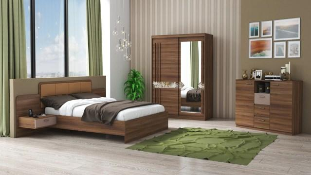 Set dormitor Atena, nuc, dulap 150 cm, pat 160x200 cm de la CB Furniture Srl