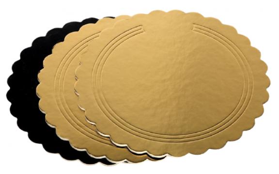 Disc gros ondulat carton auriu/negru 26cm de la Cristian Food Industry Srl.