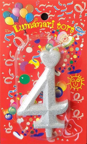 Lumanari tort argintii cifra 4 20 buc/cutie de la Cristian Food Industry Srl.