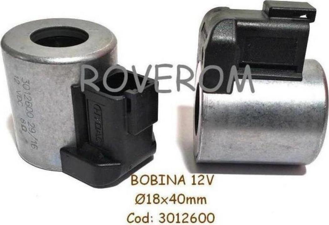 Bobina 12V, D18x40mm, electrovalva hidraulica