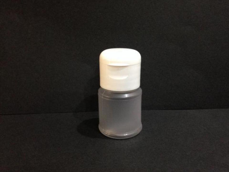 Flacon plastic transparent/alb 30 ml cu dop flip top