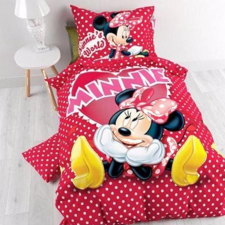 Lenjerie pat bumbac ranforce fetite Disney Minnie Mouse
