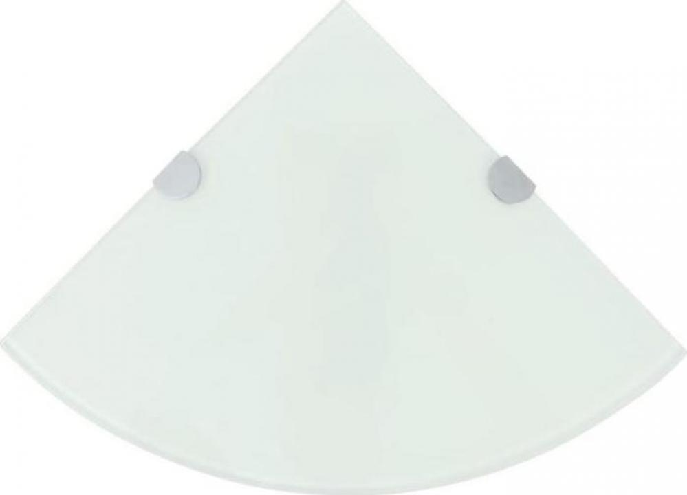 Raft de colt cu suporti din crom, sticla, 25 x 25 cm