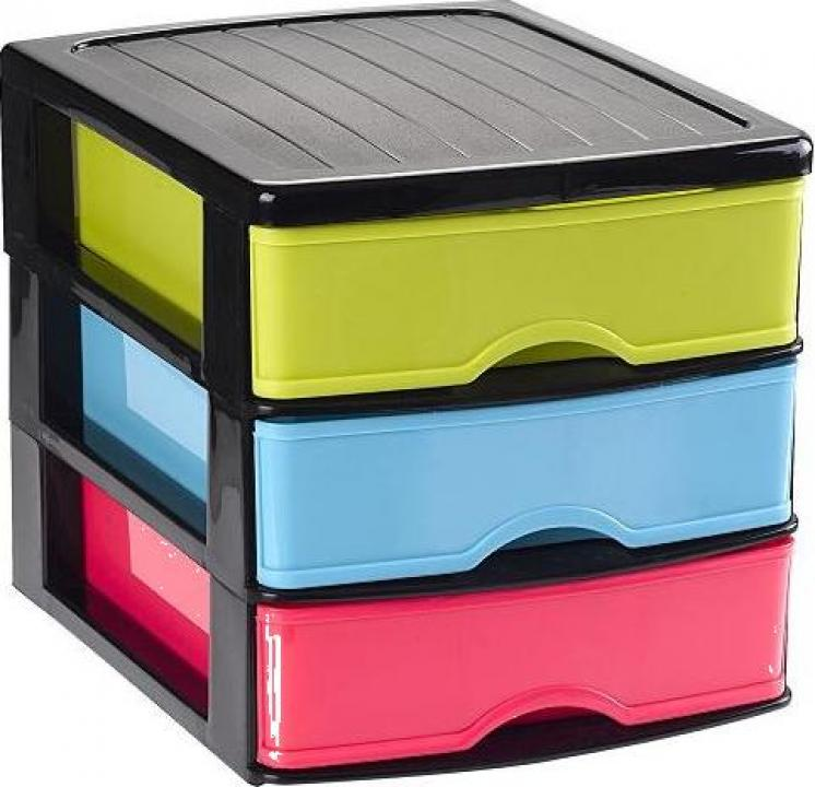 Organizator plastic cu 3 sertare Negrocolor
