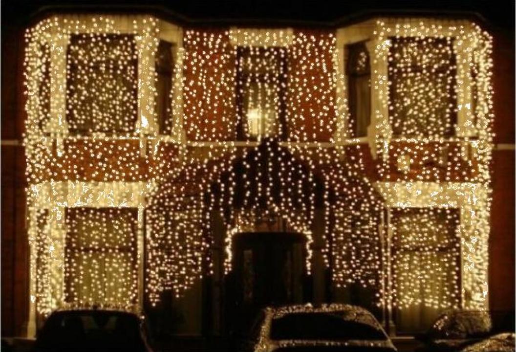 Instalatii de Craciun exterior perdea luminoasa 1920 LED-uri
