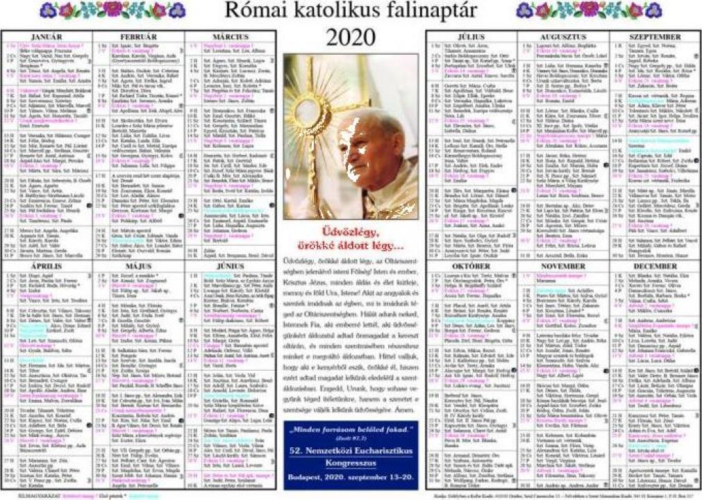 Calendar bisericesc Kalendarium falinaptar 2020