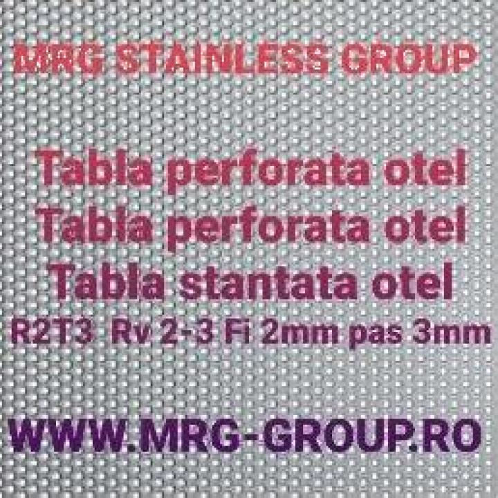 Tabla perforata otel 1x1000x2000mm gauri rotunde R2T3 inox