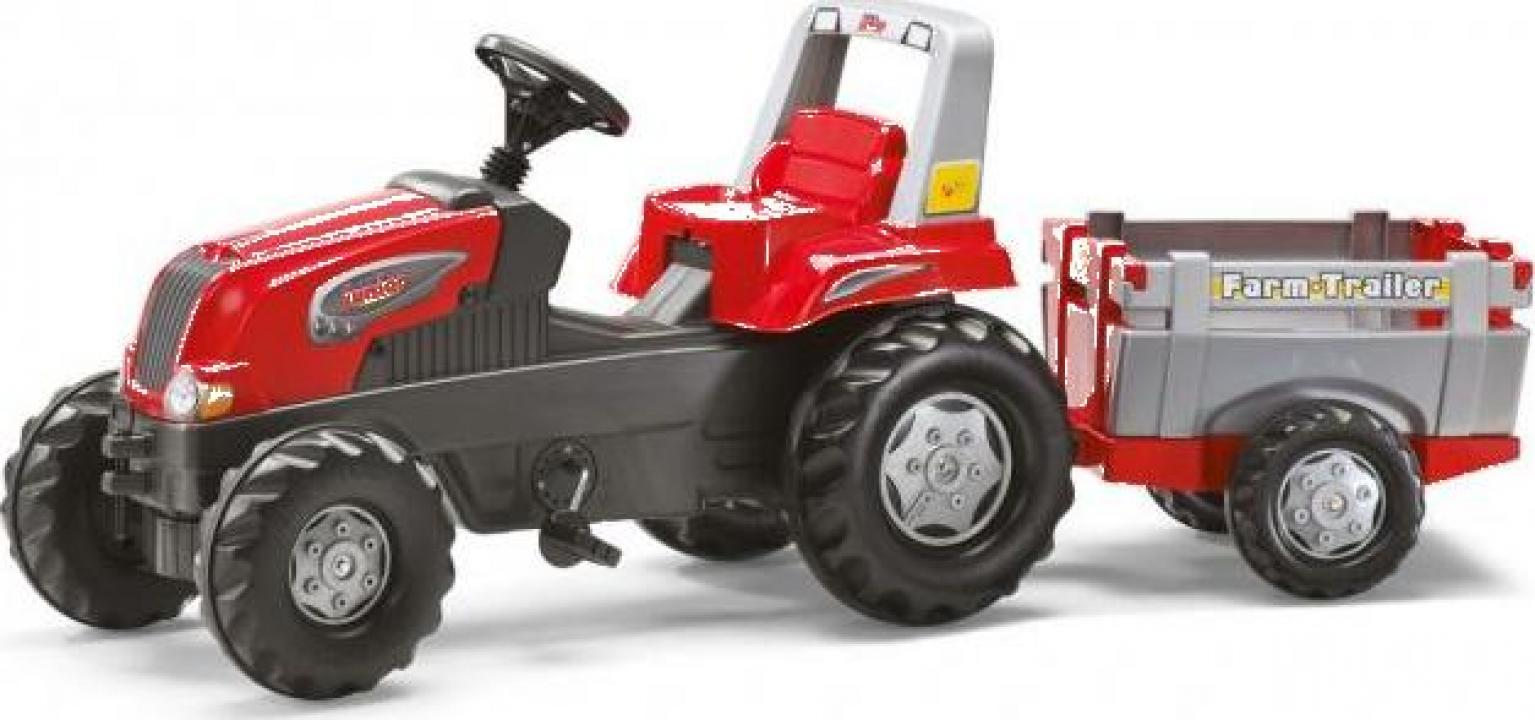 Jucarie tractor cu pedale si remorca Rolly Toys RollyJunior