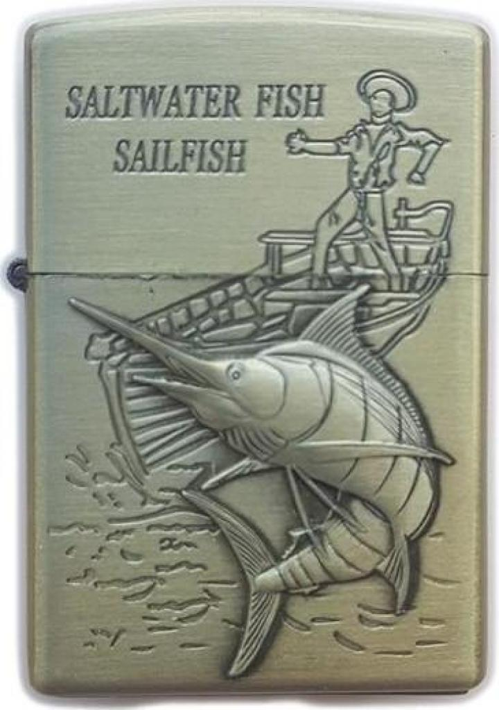 Bricheta zippo, 3D relief, metalica, pescuit p3