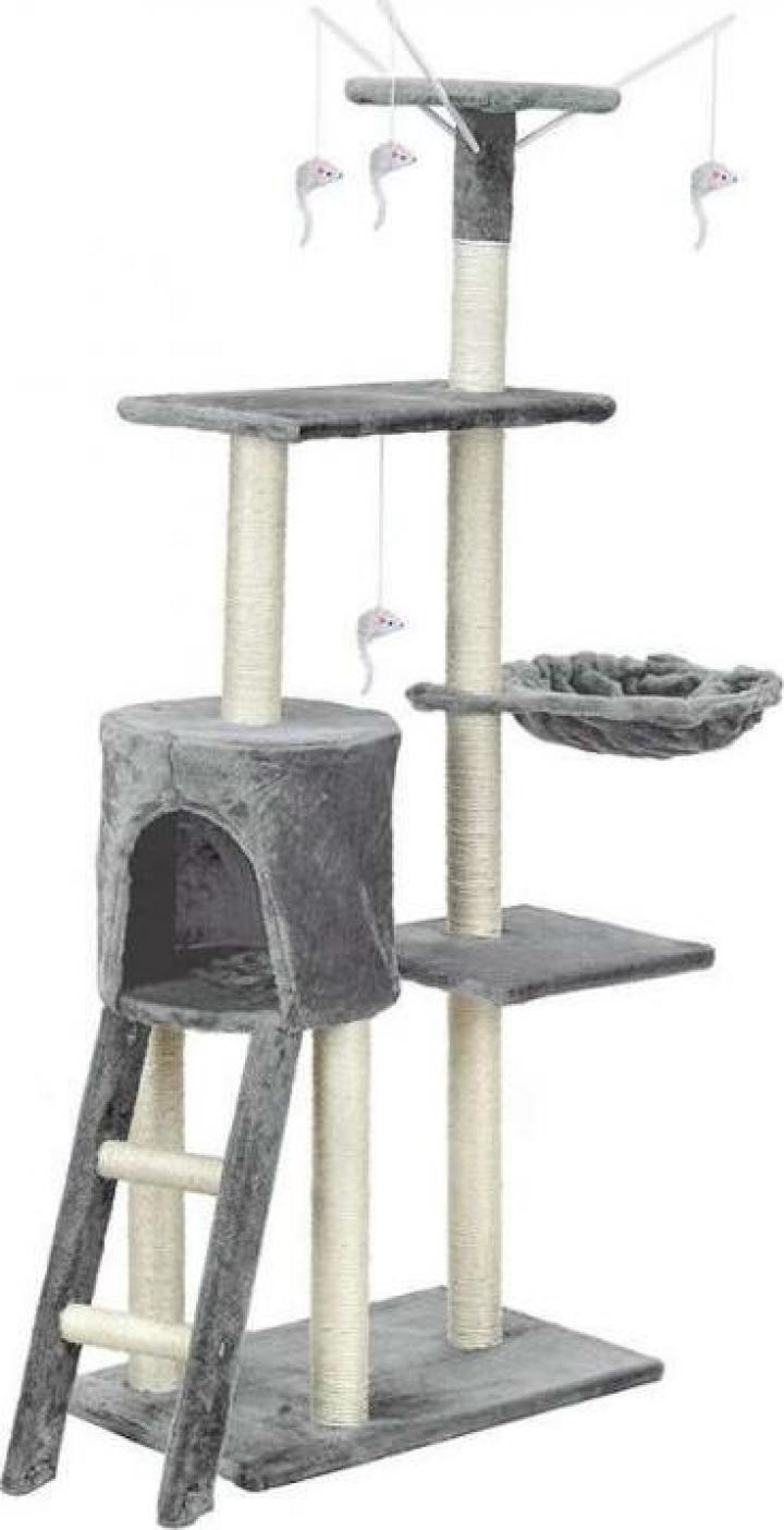 Ansamblu de joaca pentru pisici cu 5 etaje Funfit XL, gri