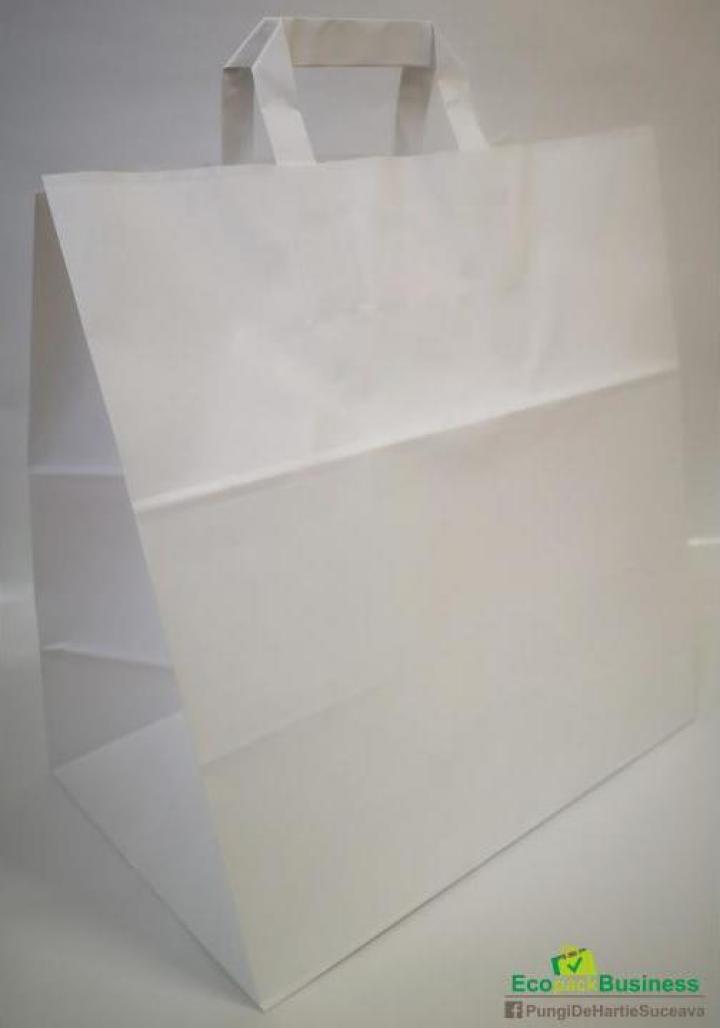 Sacosa alba cu maner banda 32+21x33cm (250buc/bax)