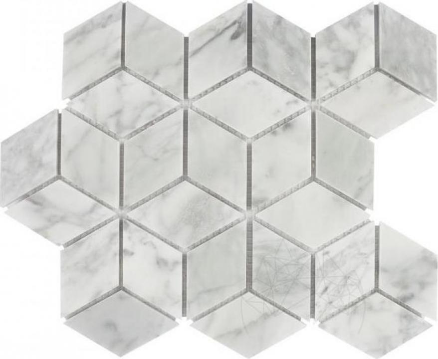 Mozaic marmura Bianco Carrara Cube Design Mata