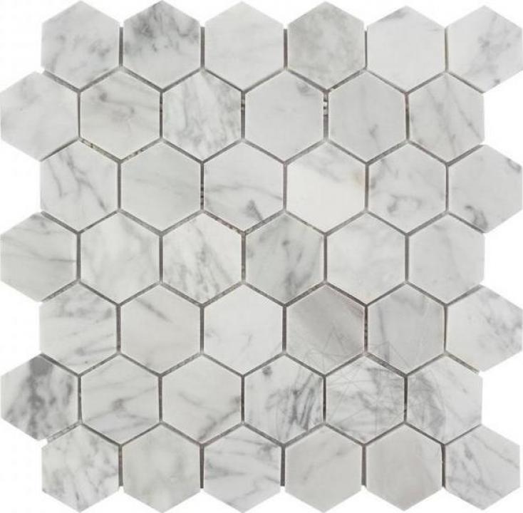 Mozaic marmura Bianco Carrara Hexagon Small mata